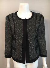 Stunning Narcisso Rodriguez For Design Nation Gray Black Tweed Jacket Size S
