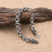 Men's Solid 925 Sterling Silver Bracelet Link Chain Dragon Stripe Loop Jewelry