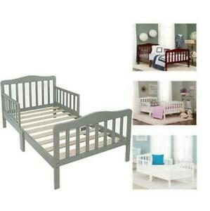 Toddler Bed for Kids Toddler Size Bed Wood W/ Safety Guardrails Baby Furniture