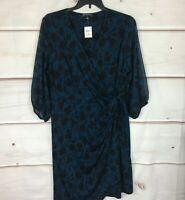 INC Plus Floral Print 3/4 Sleeve Surplice Neck Womens 2X Multicolor Wrap Dress