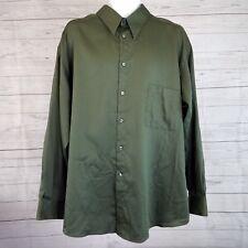 Crazy Horse Mens Sateen Shirt Sz 18 Solid Green Long Sleeve Button Front