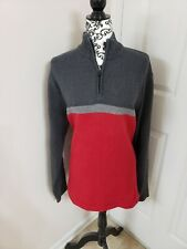 Eddie Bauer Mens Pull Over 1/4 Zip Up sweater size Large gray and red