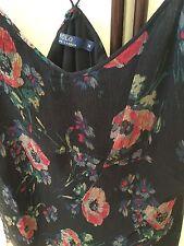 Ralph Lauren Black Flowered Silk Chiffon Camisole Two Sizes Uk 14 &16 Us 12 &14
