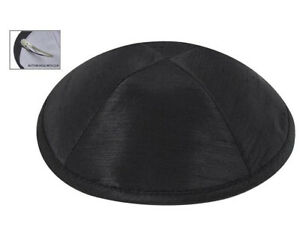 Menorah Jewish Cap Kippah Yarmulke 15cm Black Satin Superb Yamaka With Clip Kipa