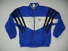 Vtg 90s ADIDAS Blue/White Nylon WINDBREAKER JACKET Track Soccer Coat Sz Men's XL