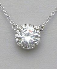 .925 Sterling Silver Clear CZ Halo Pendant Necklace - April Birthstone