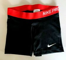 """NEW! NIKE PRO [M] Womens 3.0"""" COMPRESSION SHORTS-Black/Red 589364-028"""