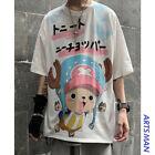 Anime One Piece Summer Hip Hop Cartoon Print Top Loose Short Sleeve T-Shirt Men