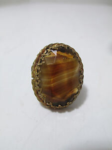 VTG Western Germany Filagree RingTwisted Brass Faceted Marbled Glass Stone