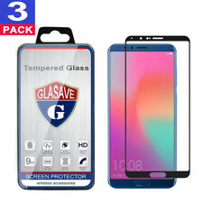 (3 Pack) GLASAVE Huawei Honor view 10 FULL COVER Tempered Glass Screen Protector