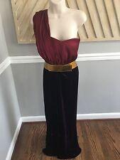$6500 Oscar De La Renta Velvet Silk Gown Belted Size 6 Stun!