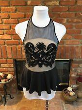Vintage VTG 1990's Black Mesh Nude Embroidered See Through Peplum Dress Top sz M