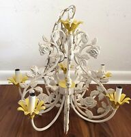 Italian Tole Cast Iron Chandelier white 5 arm chandelier vintage lighting