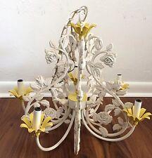 Italian Tole Cast Iron Chandelier white 5 arm chandelier vintage lighting