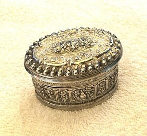 Antique Chinese Intricate Repousse Sterling Silver Lidded Box W/Cat On Bottom