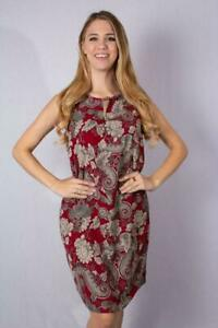 Size 14-16 Red Pattern Printed Sleeveless Round Neck Dress