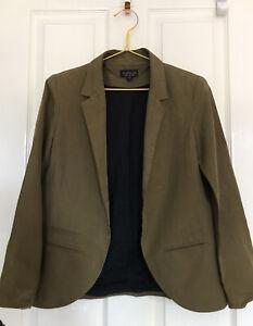 TOPSHOP Khaki Green Lyocell Linen Blazer Jacket size 8