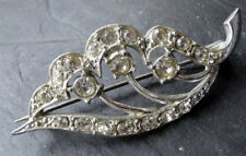 vintage clear rhinestone lily of valley flower silver tone brooch 1950s -72