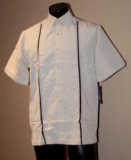 Centro Men's SILVER LINING Guayabera HABANERA Rockabilly Bowling Shirt SMALL