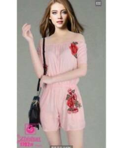 Off Shoulder Summer Time Embroidered Romper (Pink)