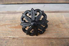 Black or Distressed White Flower Metal Drawer Pull Knob YOU CHOOSE ~  NEW