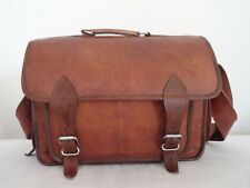 "14x10"" Real Leather DSLR Camera Briefcase Satchel Attache Messenger Bag"