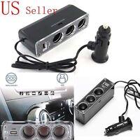 DC 12V/24V 3 Port Car Charger Socket Splitter Cigarette Lighter Adapter USB Plug