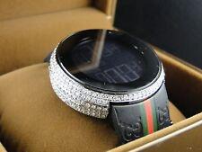 Mens Custom White Full I Gucci Digital Diamond Watch 6.0 Ct