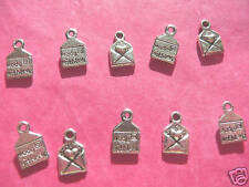 Tibetan silver made with love charmes # 1 - 10 Par Pack