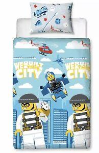 Lego City Single Duvet Cover Set Kids Reversible Policemen Robbers Cops (s