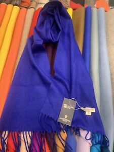 100% Pure Cashmere Scarf   Johnstons of Elgin   Made in Scotland   Bright Blue