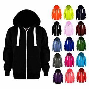 New Womens Ladies Warm Fleece Plain Colour Hoodie Zip Up Jacket Jumper Hoody Top