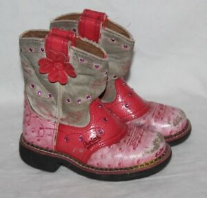 Ariat Fat Baby Ostrich Pink Leather Cowgirl Western Boot Toddler 11 EUR 28 Bling