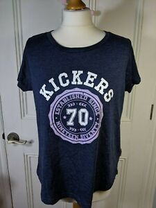 KICKERS womens T shirt Size 16 blue marl Logo spellout stretch cotton