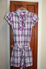 Gymboree SPARKLE KITTY EUC 8 Purple/gray/silver plaid ruffle tie dress SPARKLE