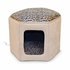 K&H Pet Products Thermo-Kitty Sleep-House Medium Tan Leopard Heated Cat Bed New
