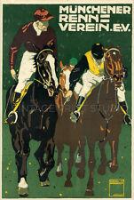 Munich Race, 1910 Vintage German Horse Racing Poster Repro Canvas Print 20x30