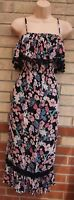 G21 PINK BLACK MULTI COLOUR GREEN FLORAL POM POM STRAPPY RUFFLE A LINE DRESS 14