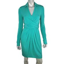 Vince Camuto Womens Wrap Belt Dress Size 4 Side Zip Collared Long Sleeve V-Neck