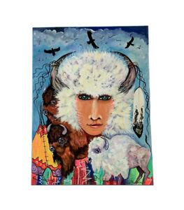 Painting Native American Buffalo Woman Portrait Sioux Kathleen Kills Thunder