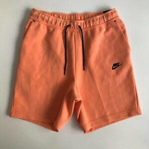 Nike Men Medium Sportswear Tech Fleece Wash Shorts Pants Orange Black CZ9912-835