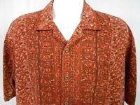 Geoffrey Beene Men's Size XL100% Silk Shirt Short Sleeve Rust