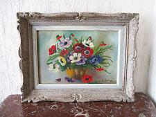 Superbe ancien tableau bouquet d'anémones signé fleurs cadre Montparnasse 1950.