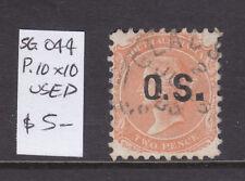 South Australia: 2d Orange Qv Ov/Pr Os Perf 10 X 10 Sg O44 Used.