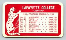 Lafayette College Leopards 1956 Football Schedule pocket card, Easton PA