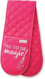Double Oven Glove Cotton Pink ladies Cotton Mitts Let make your own Magic Slogan