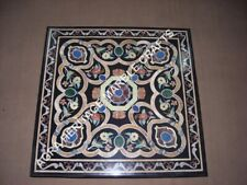 """36"""" Black Marble Side Dining End Table Top Mosaic Inlay Arts Hallway Decor H3489"""