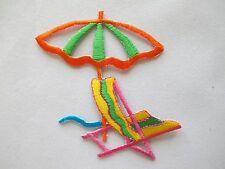 #4221 Sun Umbrella,Beach Chair Embroidery Iron On Applique Patch