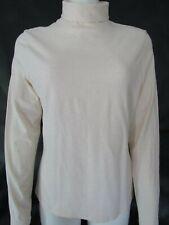 LL BEAN Womens Medium Beige Long Sleeve Turtleneck Shirt Top Stretch Cotton NWOT