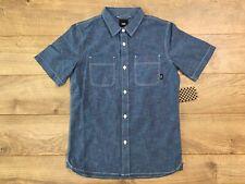 Vans Carlow II Boys Short Sleeve Button Down Shirt Blue Youth SZ M ( VN0A49NR )